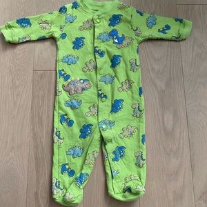 Baby Boots Dino Footed Onesie Green Blue